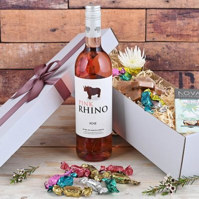 Pink Rhino Wine Hamper & Sweets | Hamper World