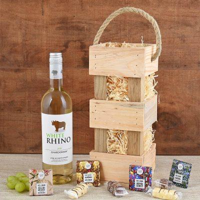 Rhino Wine in Carrier With Snacks | Hamper World