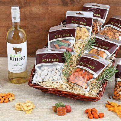 Snack & White Wine Basket | Hamper World