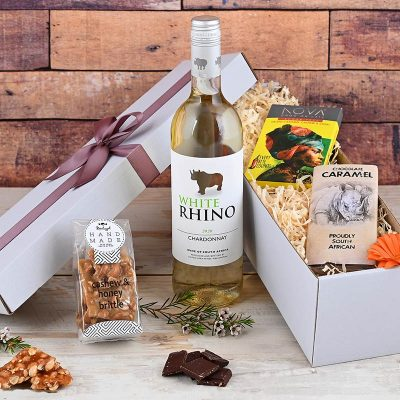 White Rhino Wine Hamper with Sweets | Hamper World