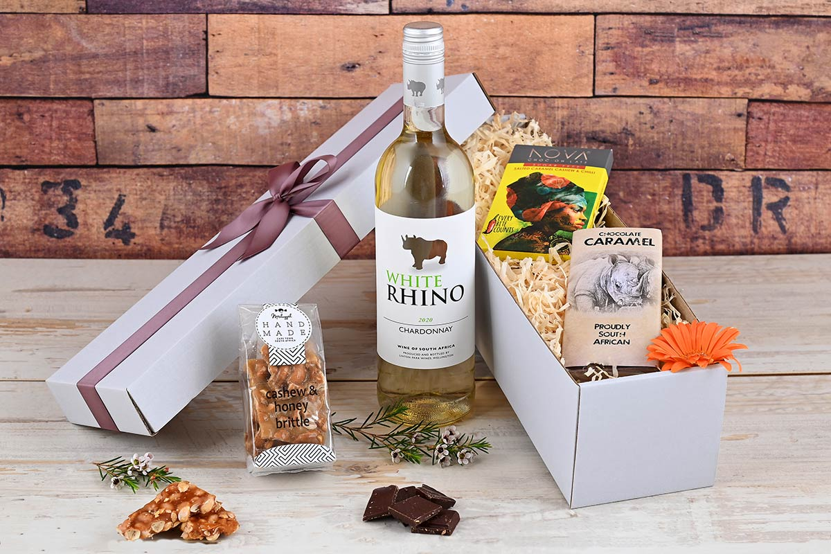 White Rhino Wine Hamper with Sweets   Hamper World