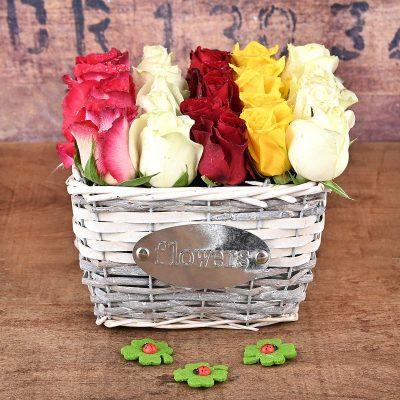 25 Mixed Roses In Flower Basket | Hamper World