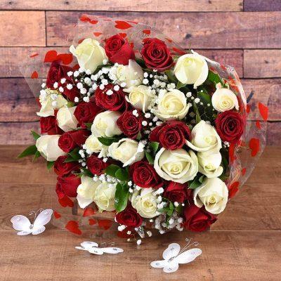 36 Red & White Roses Florist | Hamper World