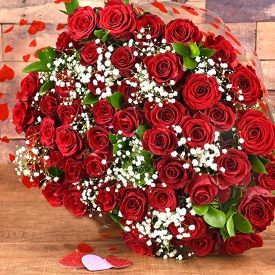 50 Romantic Red Roses | Hamper World Florist