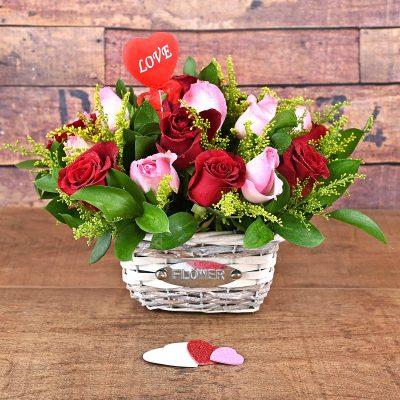 Florist Red & Pink Roses Flower Basket | Hamper World