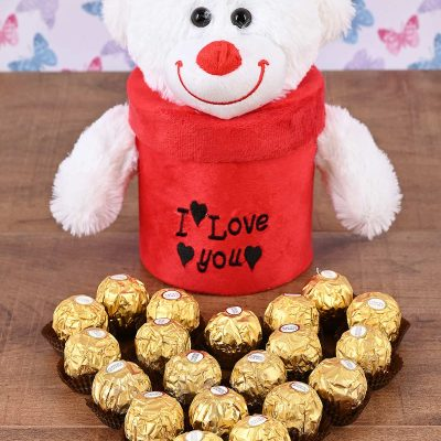 I Love You Teddy Box with Chocolates | Hamper World