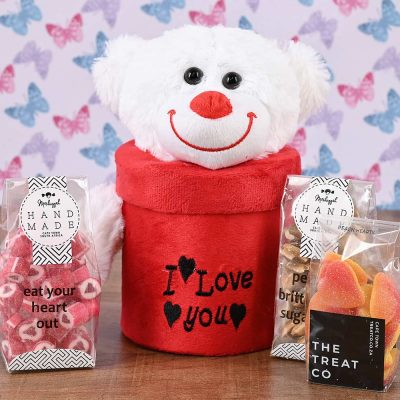 I Love You Teddy Box with Sweets | Hamper World