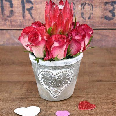Roses & Protea Arrangement Florist | Hamper World