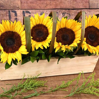 Sunflowers in Wooden Box | Hamper World