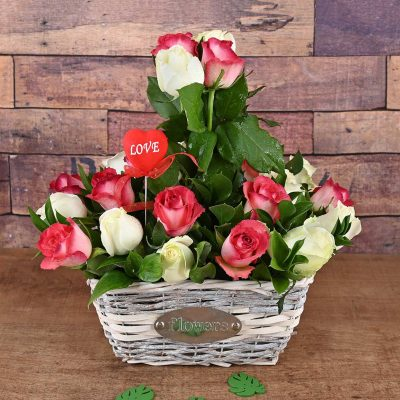 White & Pink Roses Flower Basket Flowers | Hamper World